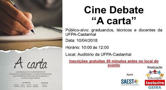 """Geira vai exibir documentário """"A carta"""" no Campus de Castanhal"""