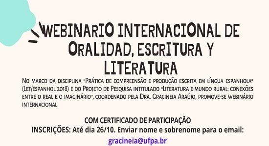 """Faculdade de Letras realiza """"Webinario Internacional de Oralidad, Escritura y Literatura"""""""